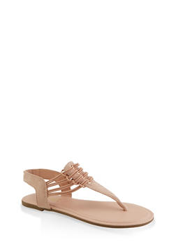 Elastic Strap Thong Sandals - NUDE - 3112004067891