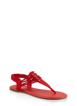 Elastic Strap Thong Sandals - RED S - 3112004067891