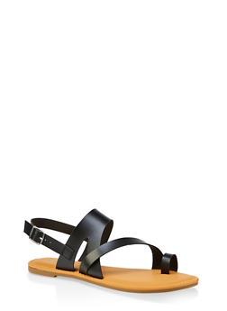 Asymmetrical Toe Ring Sandals | 3112004067893 - BLACK - 3112004067893