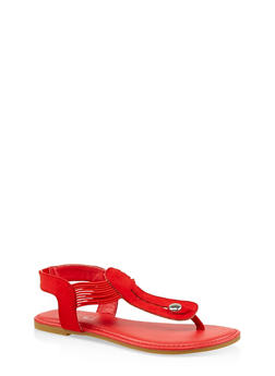 Elastic Strap Thong Sandals | 3112004067894 - RED S - 3112004067894