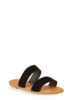 Two Band Slide Sandals | 3112004068345 - BLACK SUEDE - 3112004068345