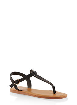 Studded Thong Ankle Strap Sandals - BLACK - 3112004068726