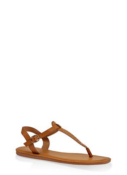 Studded Thong Ankle Strap Sandals - TAN - 3112004068726