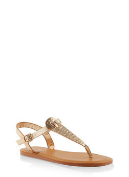 Studded Thong Ankle Strap Sandals - GOLD - 3112004068726