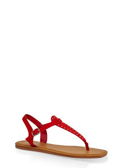 Studded Thong Ankle Strap Sandals - RED S - 3112004068726