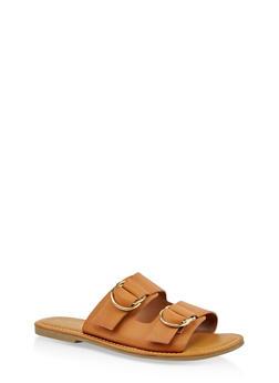 Metallic Ring Buckle Slide Sandals - 3112004069282