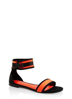 Sporty Buckle Neon Ankle Strap Sandals - ORANGE - 3112004069381