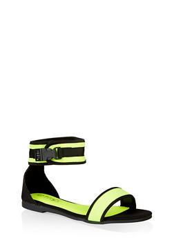 Sporty Buckle Neon Ankle Strap Sandals - NEON YELLOW - 3112004069381