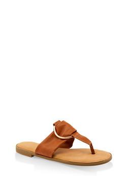 Metallic O Ring Thong Slide Sandals - TAN - 3112014067358