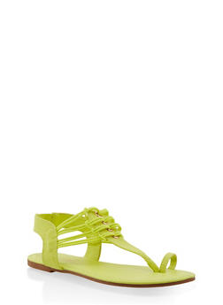 Elastic Strap Toe Ring Thong Sandals - NEON YELLOW - 3112014067895