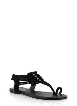 Elastic Strap Toe Ring Thong Sandals - BLACK SUEDE - 3112014067895