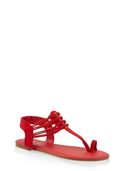 Elastic Strap Toe Ring Thong Sandals - RED S - 3112014067895