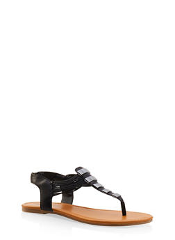 Elastic Strap Metallic Thong Sandals - BLACK - 3112027615859