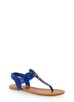 Elastic Strap Metallic Thong Sandals - NAVY - 3112027615859