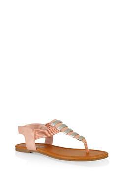 Elastic Strap Metallic Thong Sandals - MAUVE - 3112027615859