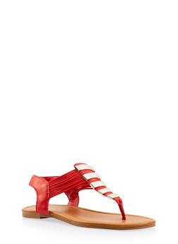 Elastic Strap Metallic Thong Sandals - RED - 3112027615859