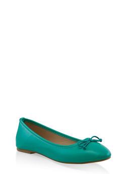 Bow Ballet Flats - GREEN - 3112028017263