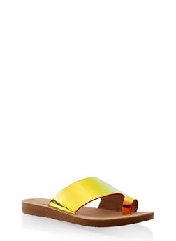 Asymmetrical Band Toe Loop Slide Sandals - 3112056634022