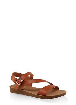 Asymmetrical Strap Sandals | 3112056634025 - TAN - 3112056634025