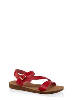 Asymmetrical Strap Sandals | 3112056634025 - RED - 3112056634025
