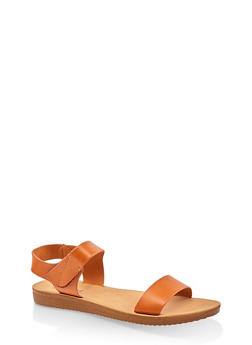 Single Band Velcro Strap Sandals - 3112056634044