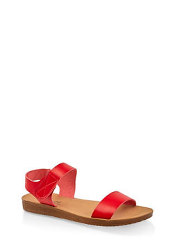 Single Band Velcro Strap Sandals - RED - 3112056634044