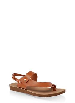 Asymmetrical Toe Ring Slingback Sandals - TAN - 3112056634445