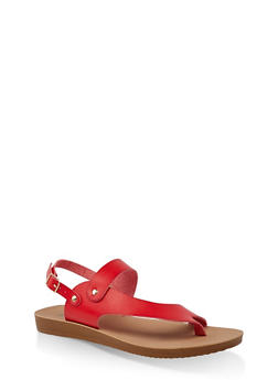 Asymmetrical Toe Ring Slingback Sandals - 3112056634445