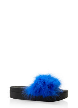 Feather Band Platform Slides - BLUE - 3112061713438