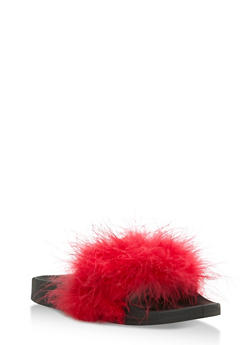 Furry Strap Slides - LIGHT RED - 3112061717277
