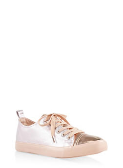 Iridescent Lace Up Sneakers - 3112062720317
