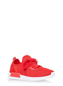 Lace Up Knit Sneakers - 3112062723464