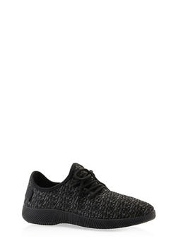 Knit Lace Up Sneakers - BLACK - 3112062727470