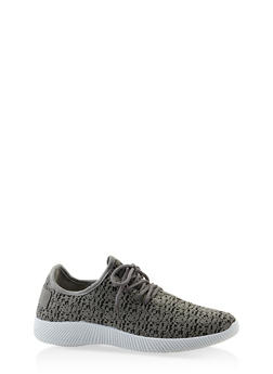 Knit Lace Up Sneakers - GRAY - 3112062727470