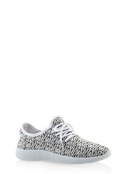 Knit Lace Up Sneakers - WHITE - 3112062727470