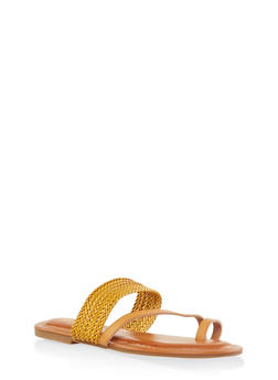 Asymmetrical Woven Toe Ring Slide Sandals - MUSTARD - 3112070753614