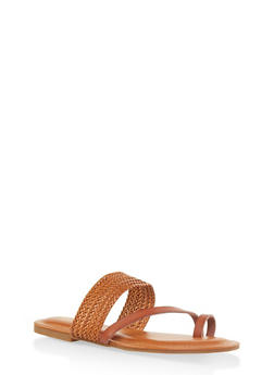 Asymmetrical Woven Toe Ring Slide Sandals - CHESTNUT - 3112070753614