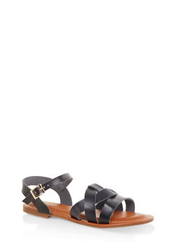 Criss Cross Band Ankle Strap Sandals - BLACK - 3112070753615