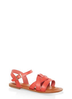 Criss Cross Band Ankle Strap Sandals - RED - 3112070753615