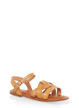 Criss Cross Band Ankle Strap Sandals - MUSTARD - 3112070753615
