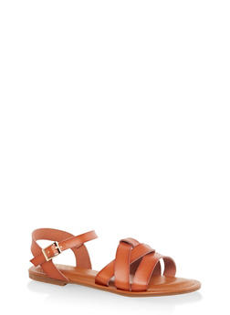 Criss Cross Band Ankle Strap Sandals - CHESTNUT - 3112070753615