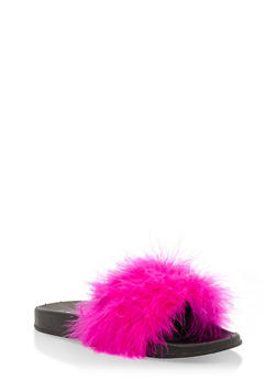 Feather Pool Slides - HOT PINK - 3112073113899