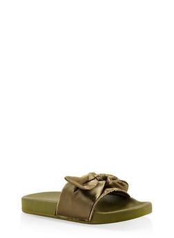 Tie Bow Slides - OLIVE - 3112073117268