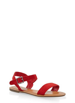 Buckle Strap Sandals - RED - 3112073540052