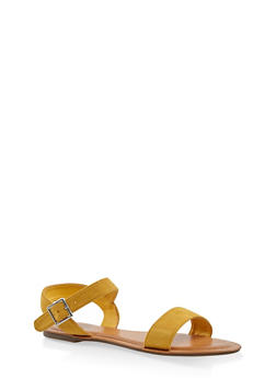 Buckle Strap Sandals - YELLOW - 3112073540052