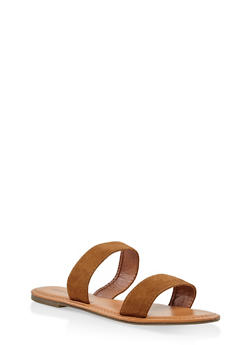Double Band Slide Sandals - TAN - 3112073540072