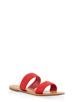 Double Band Slide Sandals - RED - 3112073540072