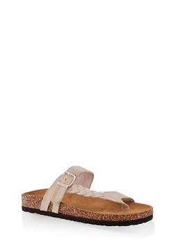 Braided Buckle Footbed Sandals - BEIGE - 3112073541011