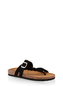 Braided Buckle Footbed Sandals - BLACK SUEDE - 3112073541011
