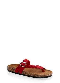 Braided Buckle Footbed Sandals - RED S - 3112073541011